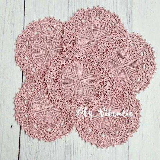 Текстиль, ковры ручной работы. Ярмарка Мастеров - ручная работа. Купить Набор салфеток 6 шт. крючком  розовые. Handmade.