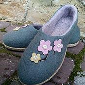 Обувь ручной работы. Ярмарка Мастеров - ручная работа Тапочки шерсть тёплые Сакура. Handmade.