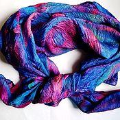 Платки ручной работы. Ярмарка Мастеров - ручная работа Платок шелковый фиолетовый. Handmade.