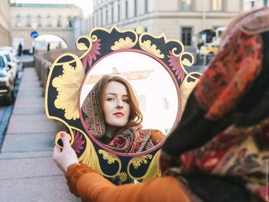 """Зеркала ручной работы. Ярмарка Мастеров - ручная работа. Купить Рама для зеркала """"Билибинский стиль"""". Handmade. Зеркало настенное, стена"""