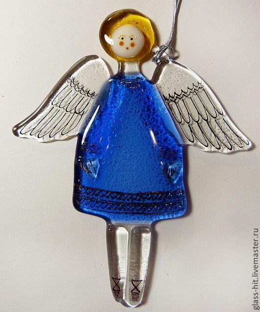 Ангелочек в голубом платье. Стекло. Фьюзинг.