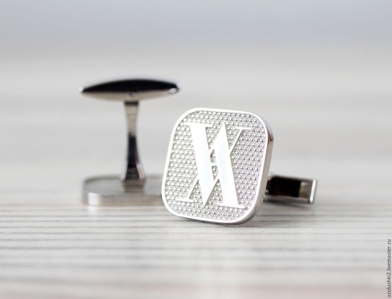 Серебряные запонки с логотипом компании, Запонки, Магнитогорск,  Фото №1