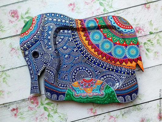 """Кухня ручной работы. Ярмарка Мастеров - ручная работа. Купить Поднос """"Индийский слон"""". Handmade. Комбинированный, слоник, Роспись по дереву"""