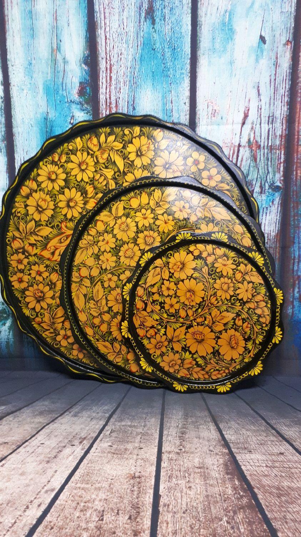 Подносы круглые с росписью, Народные сувениры, Богучар,  Фото №1
