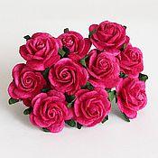 Материалы для творчества ручной работы. Ярмарка Мастеров - ручная работа Розы 2 см 5 шт ярко-розовые. Handmade.