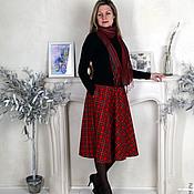 """Одежда ручной работы. Ярмарка Мастеров - ручная работа Шерстяная юбка-миди """"Шотландка"""". Handmade."""