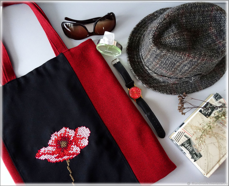 """Эко-сумка """"Мак"""" - ручная вышивка, авоська, черная сумка, красная сумка"""