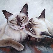 Картины и панно handmade. Livemaster - original item Oil painting with seals My Moore-Moore. Handmade.