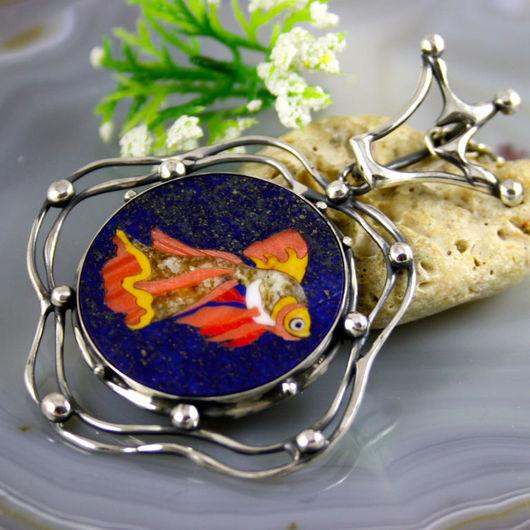 """Кулоны, подвески ручной работы. Ярмарка Мастеров - ручная работа. Купить Кулон """"Золотая Рыбка""""- флорентийская мозаика, серебро. Handmade."""