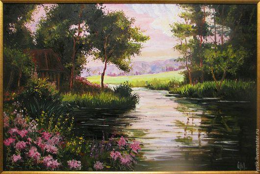 Пейзаж ручной работы. Ярмарка Мастеров - ручная работа. Купить розовый сад. Handmade. Тёмно-зелёный, картина маслом