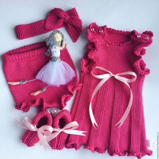 """Одежда ручной работы. Ярмарка Мастеров - ручная работа. Купить Комплект для новорожденной """"Маленькая фуксия"""". Handmade. Фуксия, вязание детям"""