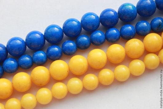 Для украшений ручной работы. Ярмарка Мастеров - ручная работа. Купить Жадеит бусины желтые и синие. Handmade. Жадеит