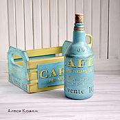 Для дома и интерьера ручной работы. Ярмарка Мастеров - ручная работа Короб декупаж бутылка для хранения масла винтаж голубой. Handmade.