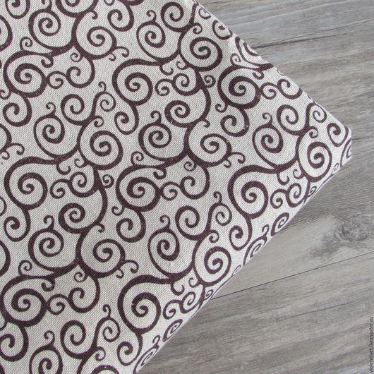Ткань лен натуральный. Рисунок Вензель.