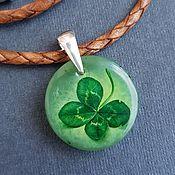 Украшения handmade. Livemaster - original item Four-leaf clover-jewelry painting on jade. Handmade.