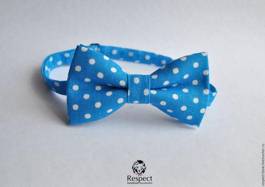 Галстуки, бабочки ручной работы. Ярмарка Мастеров - ручная работа. Купить Галстук бабочка Freeman / синяя бабочка-галстук в крупный горошек. Handmade.