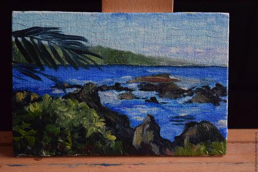 Пейзаж ручной работы. Ярмарка Мастеров - ручная работа. Купить Вид на море. Handmade. Пляж, морская волна, пальма