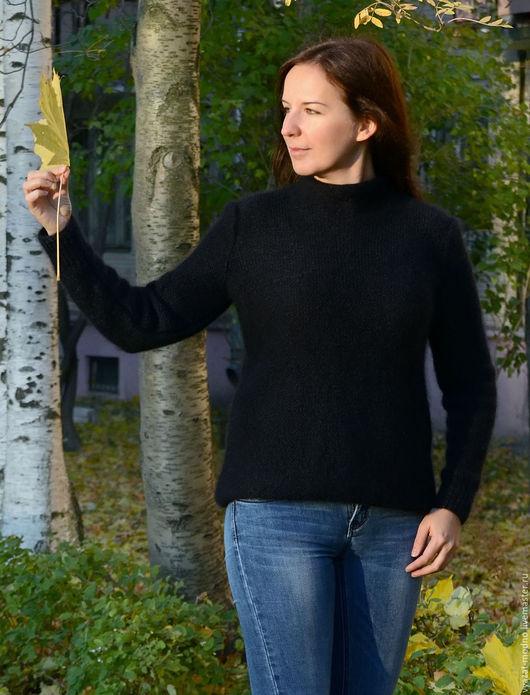 Кофты и свитера ручной работы. Ярмарка Мастеров - ручная работа. Купить Свитер классический (мохер+натур.шелк). Handmade. Черный