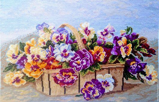 Картины цветов ручной работы. Ярмарка Мастеров - ручная работа. Купить Вышивка картины Вышивка крестиком Анютки. Handmade.