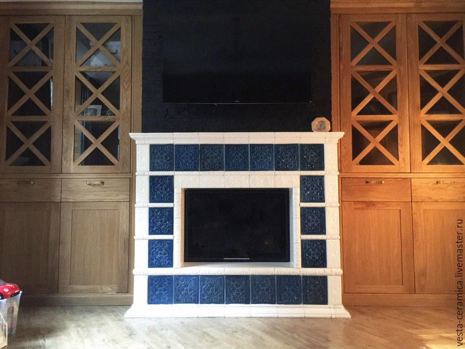 Tiled fireplace `Lapis`