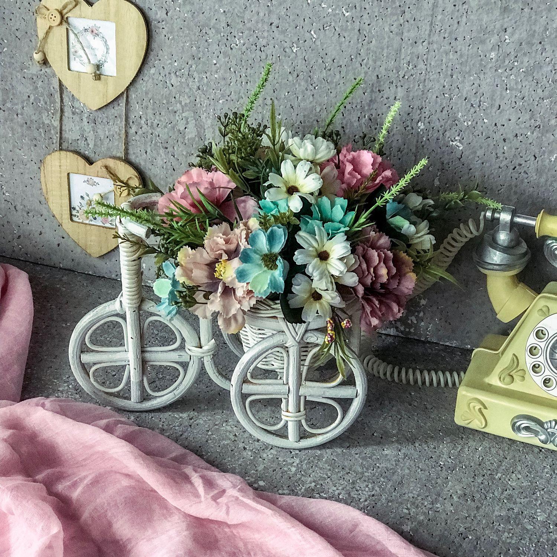Цветы в велосипеде,цветочный велосипед,декор цветочный,ромашки, Композиции, Москва,  Фото №1
