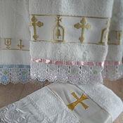 Работы для детей, ручной работы. Ярмарка Мастеров - ручная работа Полотенце с кружевами на крещение. Handmade.