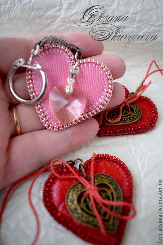 """Брелоки ручной работы. Ярмарка Мастеров - ручная работа. Купить Брелок подвеска """"Сердце"""". Handmade. Ярко-красный, подарок, кожа"""