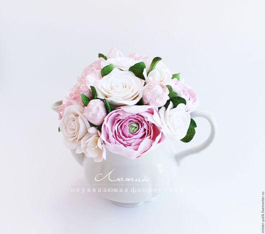 Интерьерные композиции ручной работы. Ярмарка Мастеров - ручная работа. Купить Цветы в чайнике из полимерной глины.. Handmade. Интерьерная композиция