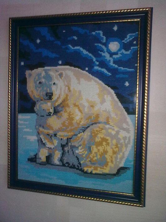 """Животные ручной работы. Ярмарка Мастеров - ручная работа. Купить """"Нежность мамы"""". Handmade. Вышитая картина крестиком, Вышитая картина"""