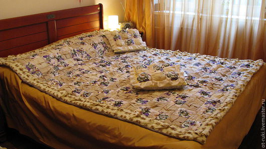 Текстиль, ковры ручной работы. Ярмарка Мастеров - ручная работа. Купить Лавандовое покрывало. Handmade. Золотой, подарок на день рождения