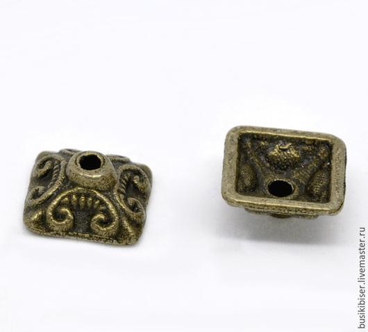 Шапочки для бусин квадратных - античная бронза для бусин 9-14мм.