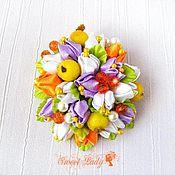 Украшения ручной работы. Ярмарка Мастеров - ручная работа Брошь заколка канзаши Flora, цветочная брошь из атласных лент. Handmade.