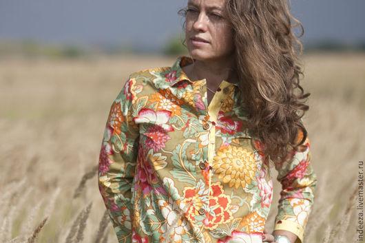 """Блузки ручной работы. Ярмарка Мастеров - ручная работа. Купить Блузка """"Цветы осени"""". Handmade. Цветочный, осень, авторская ткань"""