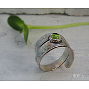 Украшения handmade. Livemaster - original item Silver ring with chrysolite. Handmade.