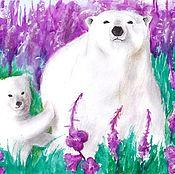 Картины и панно ручной работы. Ярмарка Мастеров - ручная работа Белые медведи.(Акварель). Handmade.