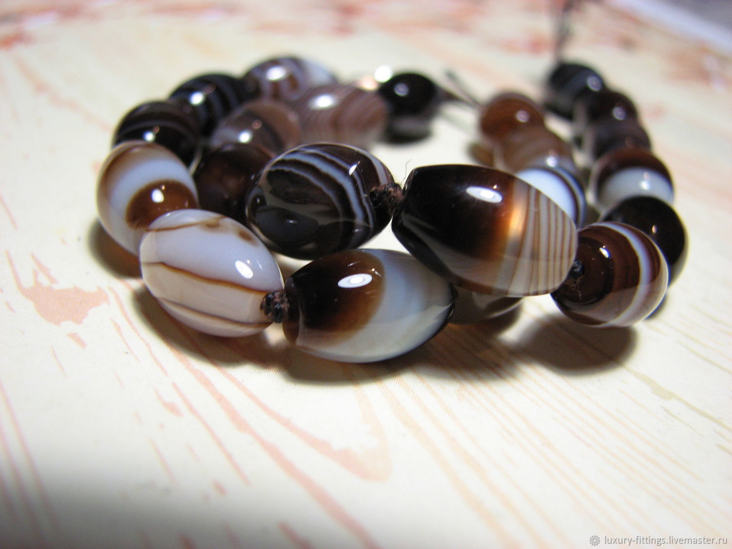 Brown agate, coffee with milk spindle 12h8 mm, Beads1, Moscow,  Фото №1
