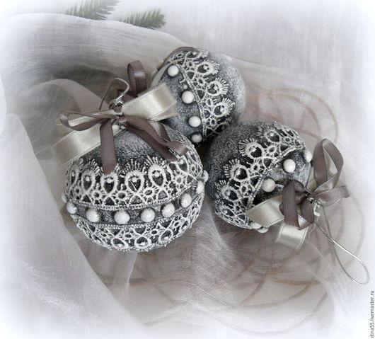 Новый год 2017 ручной работы. Ярмарка Мастеров - ручная работа. Купить Комплект из 3 новогодних шаров Кружевной. Handmade.