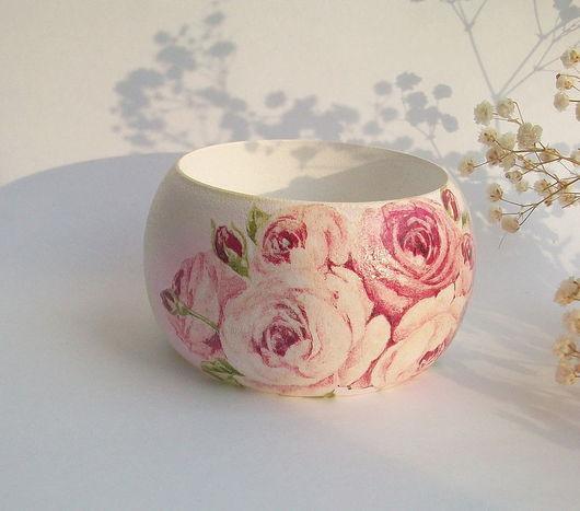 """Браслеты ручной работы. Ярмарка Мастеров - ручная работа. Купить Широкий браслет """"Фарфоровые розы"""". Handmade. Декупаж, розовые розы"""