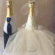 """Бутылки ручной работы. Ярмарка Мастеров - ручная работа Свадебное оформление бутылок """"Виктория""""( офомление бутылок ). Handmade."""