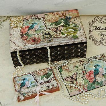 """Для дома и интерьера ручной работы. Ярмарка Мастеров - ручная работа Набор """"Перелетная птица"""": шкатулка и обложка для паспорта с конвертом. Handmade."""