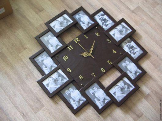 """Часы для дома ручной работы. Ярмарка Мастеров - ручная работа. Купить Настенные часы """"12 фоторамок"""". Handmade. Коричневый, фото"""