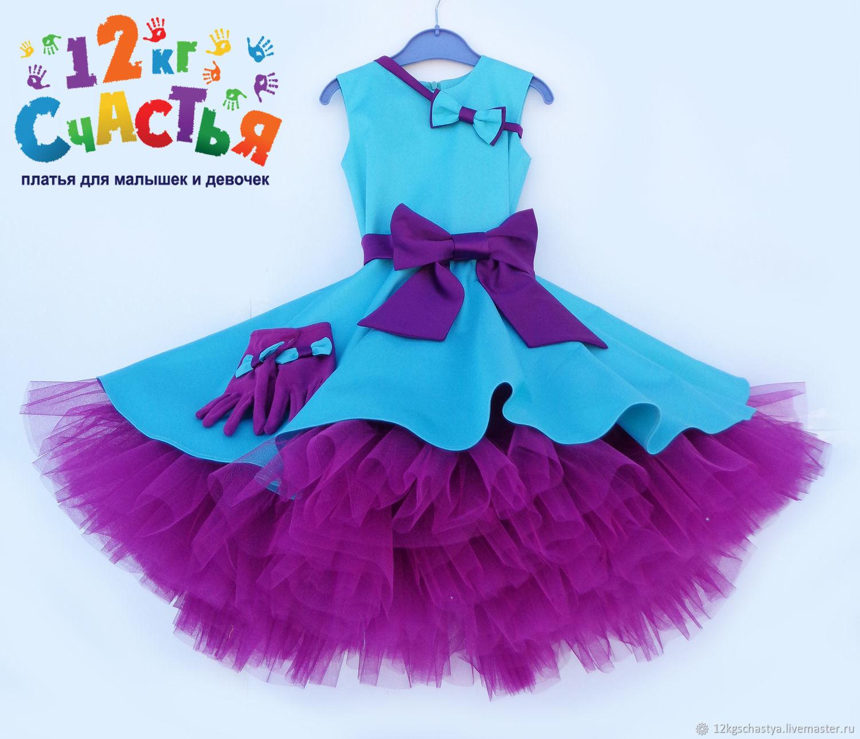 """Платье для девочки """"Стиляги"""" бирюзовое с фиолетовым, Платья, Ижевск, Фото №1"""