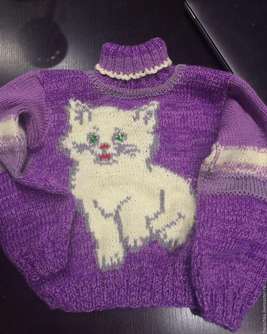 Кофты и свитера ручной работы. Ярмарка Мастеров - ручная работа. Купить детский свитер с котенком. Handmade. Комбинированный, детский свитер