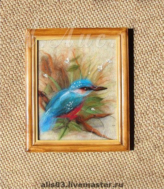"""Животные ручной работы. Ярмарка Мастеров - ручная работа. Купить """"Зимородок"""". Handmade. Картина из шерсти, голубая птица, шерсть"""