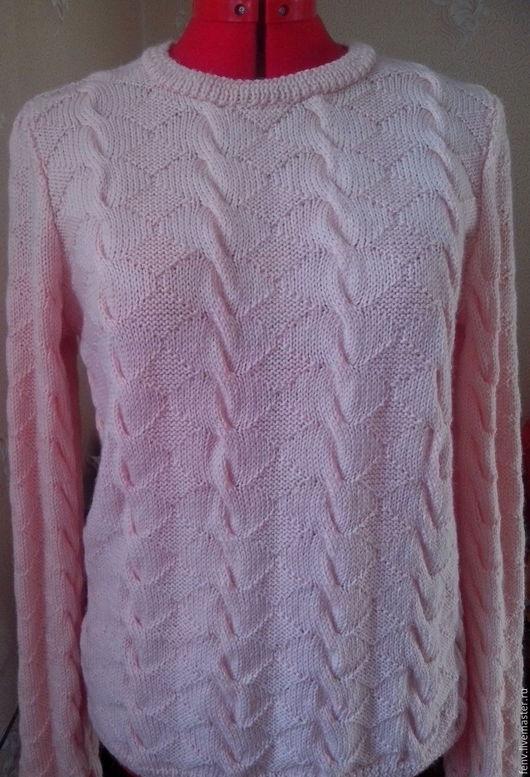 """Кофты и свитера ручной работы. Ярмарка Мастеров - ручная работа. Купить Пуловер  """"рельеф"""". Handmade. Бледно-розовый, пуловер спицами"""