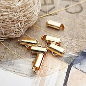 Материалы для творчества handmade. Livemaster - original item End cap tube slider 9mm gold plated (3492). Handmade.