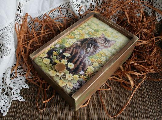 """Корзины, коробы ручной работы. Ярмарка Мастеров - ручная работа. Купить короб """"Кошка"""". Handmade. Короб для хранения, дерево"""