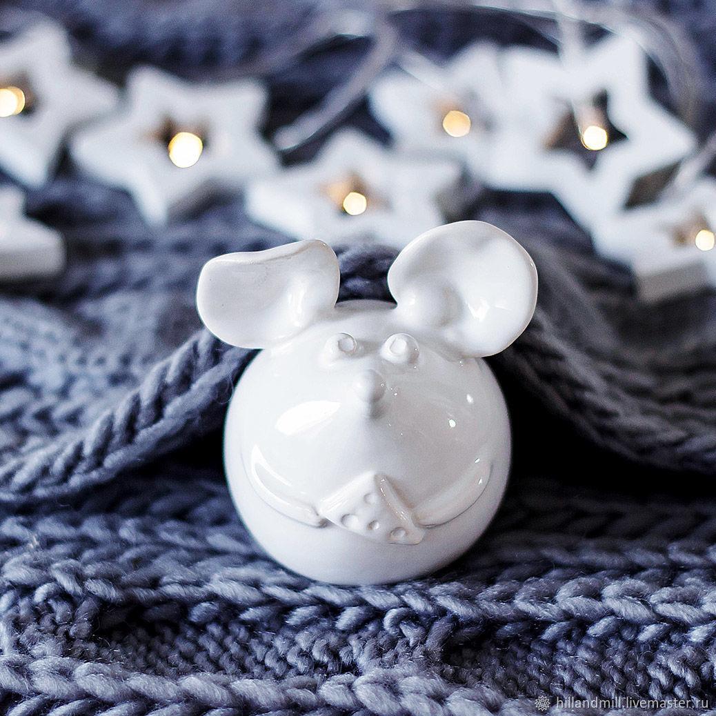 Ceramic mouse (white), Figurines, Vyazniki,  Фото №1