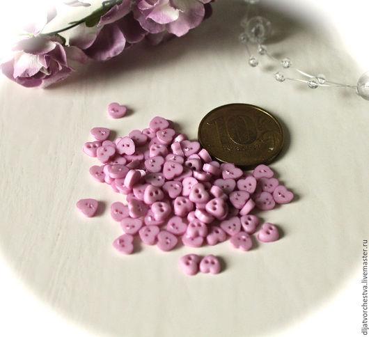 Шитье ручной работы. Ярмарка Мастеров - ручная работа. Купить Пуговицы СЕРДЦЕ 5 мм. Handmade. Розовый, маленькие пуговицы