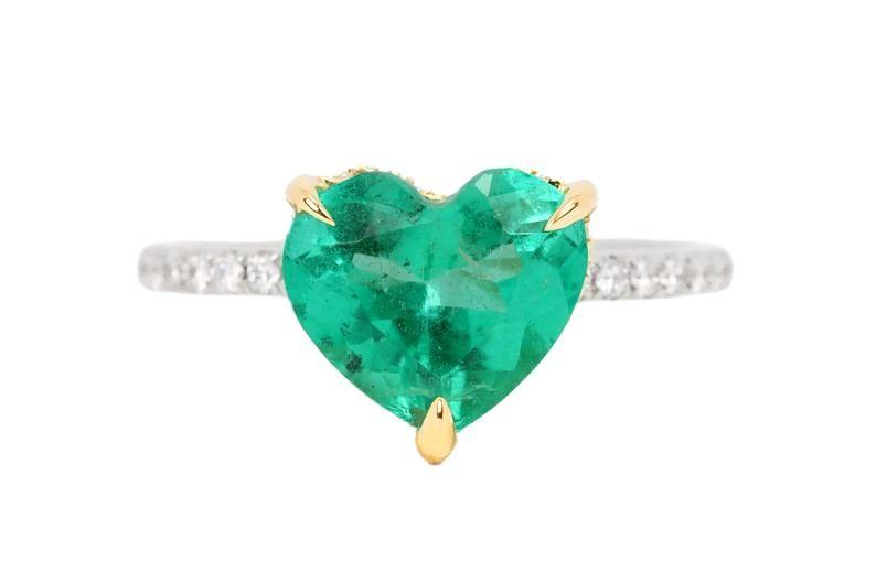 Шикарное кольцо с колумбийским изумрудом формы сердце и бриллиантами, Кольца, Вест-Палм-Бич,  Фото №1